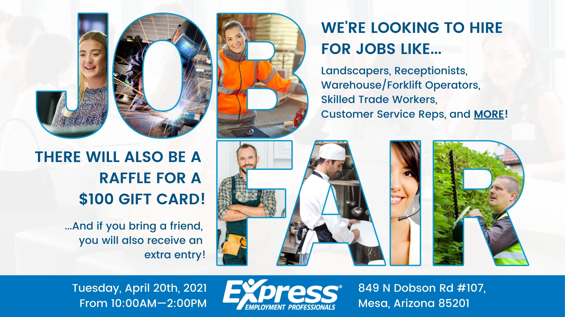 Express Job Fair in Mesa, Arizona on April 20th, 2021 from 10AM to 2PM.