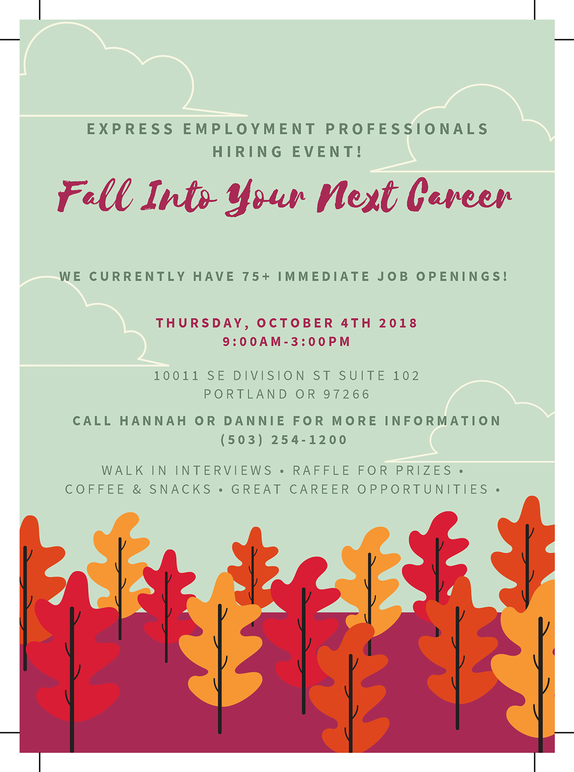 Fall Into Your Next Career - Now Hiring in Portland, OR